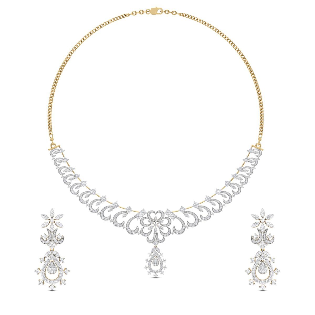 d0faeac5db17c1 Kaushey Floral Diamond Necklace Set