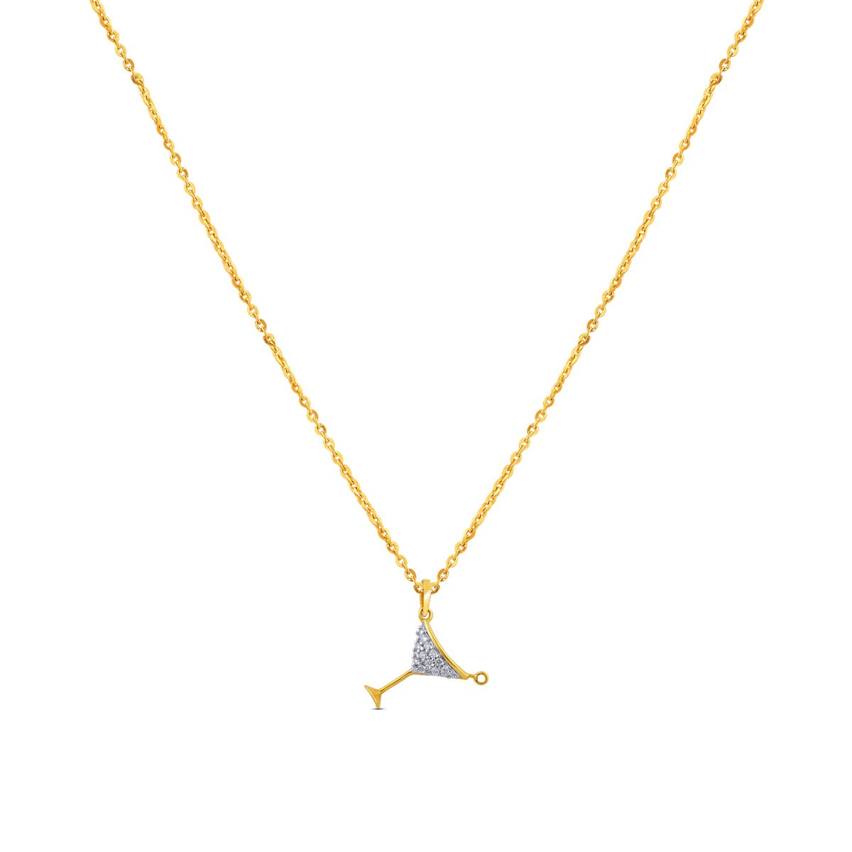 Celena Yellow Gold Diamond Pendant with Chain