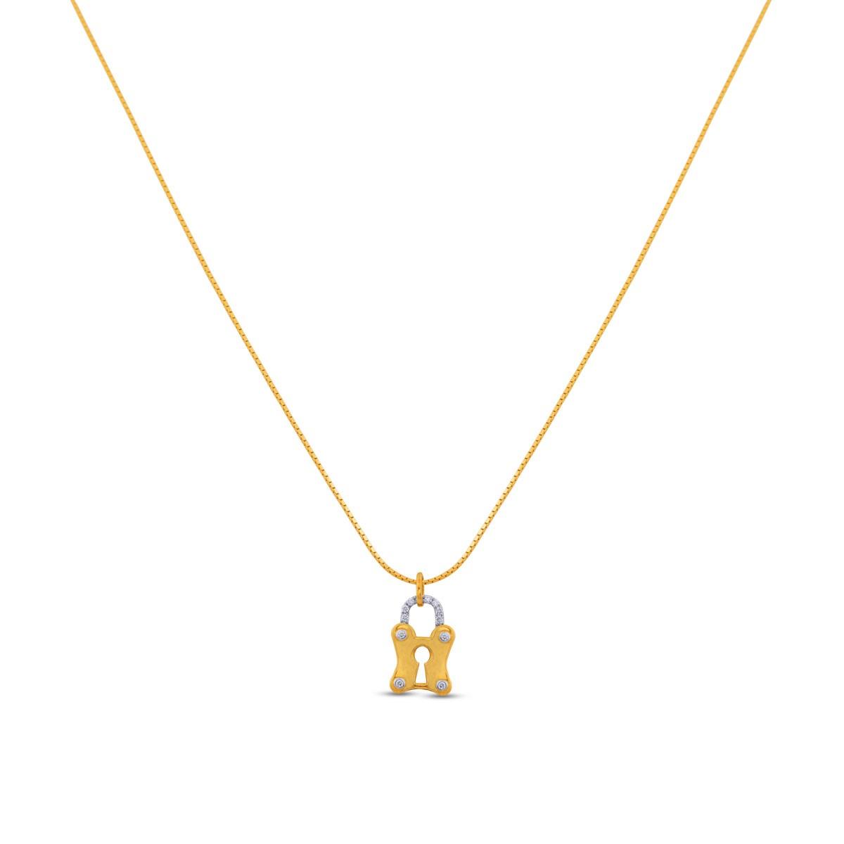 Padlock Diamond Pendant with Chain