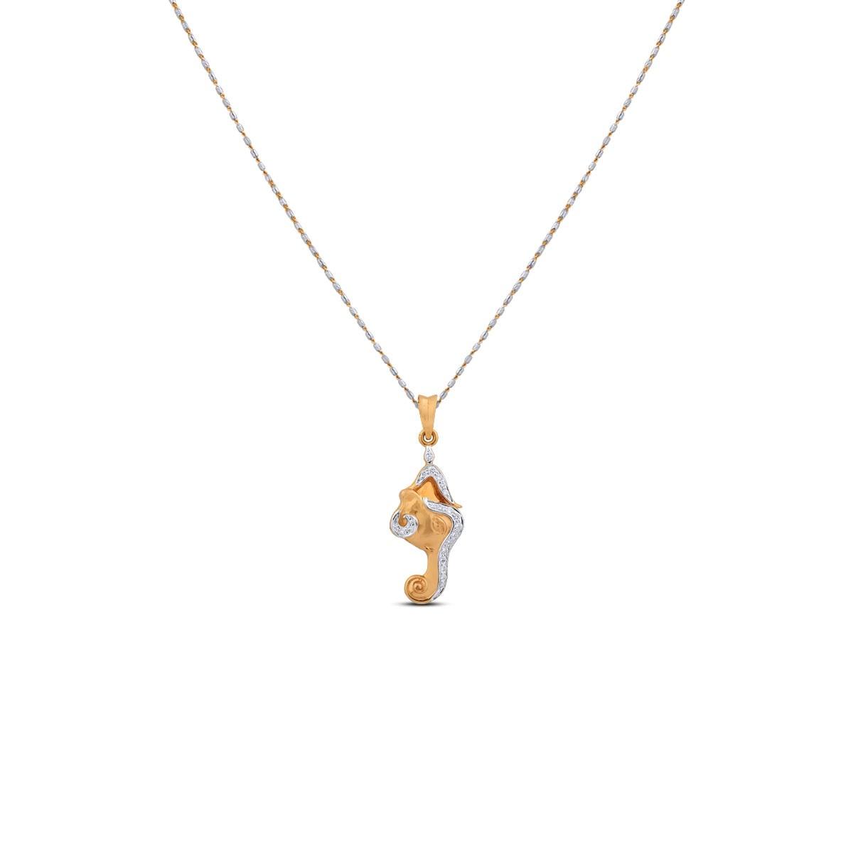 Una Yellow Gold Diamond Pendant with Chain