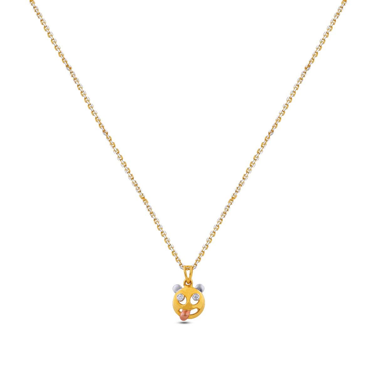 Tongue Emoji Girl's Diamond Pendant with Chain