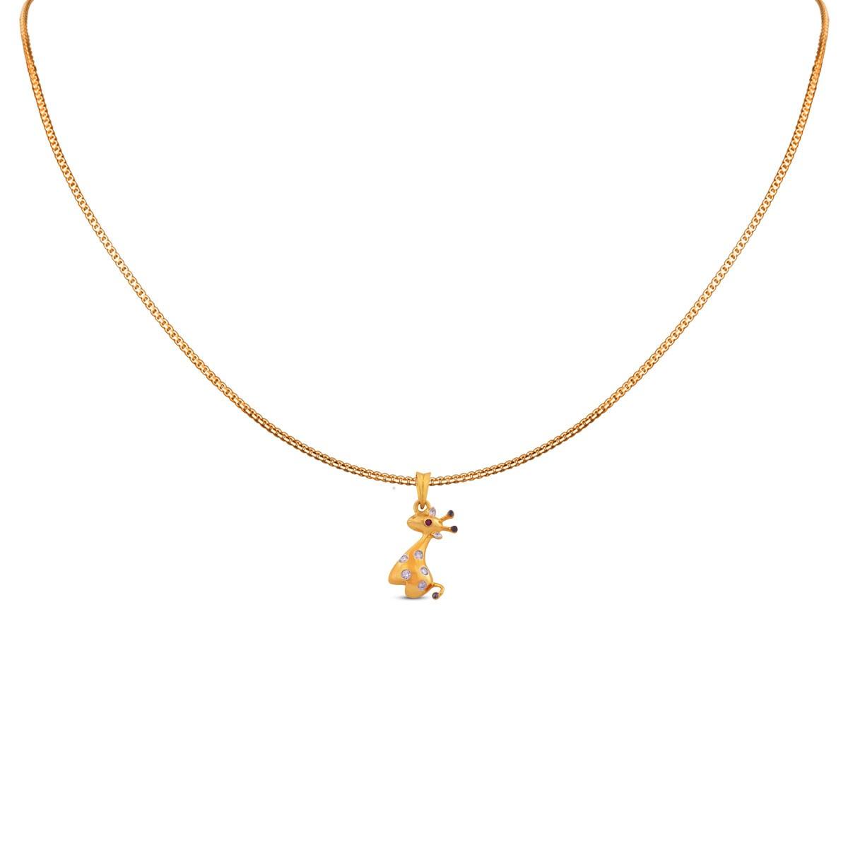 Giraffe Kid's Yellow Gold Diamond Pendant with Chain