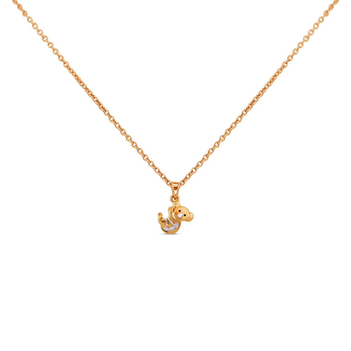 Koala Kid's Yellow Gold Diamond Pendant with Chain for Kid's