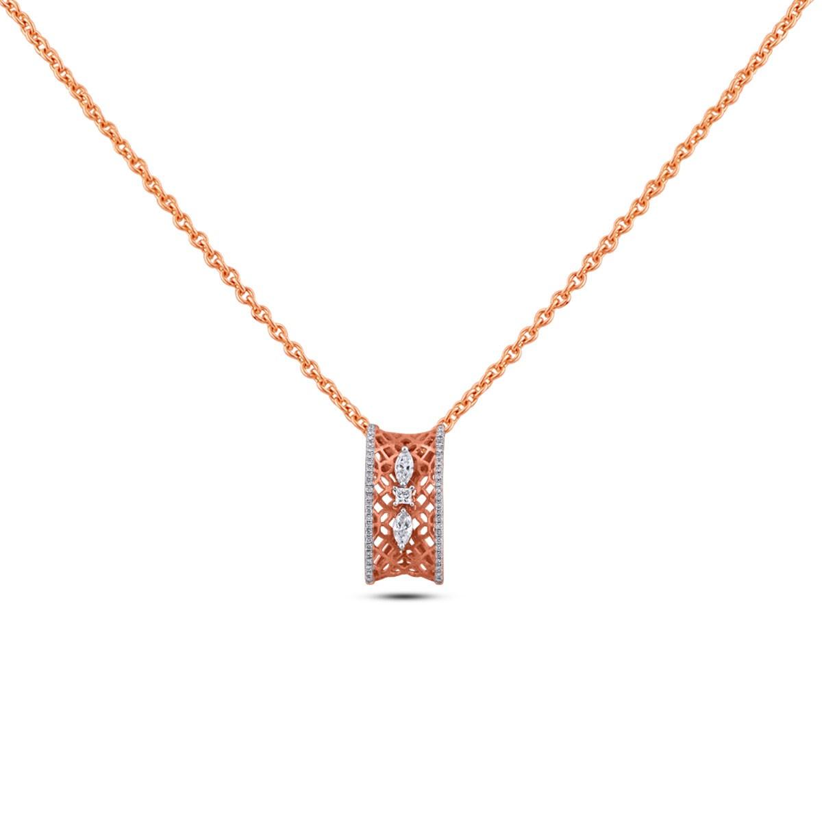 Viola Diamond & Rose Gold Pendant with Chain