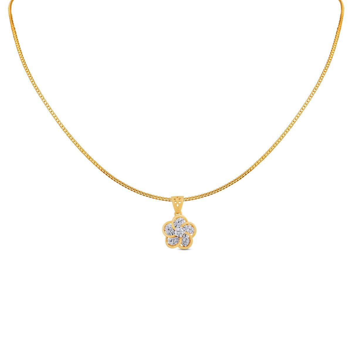 Siya Yellow Gold Diamond Pendant with Chain