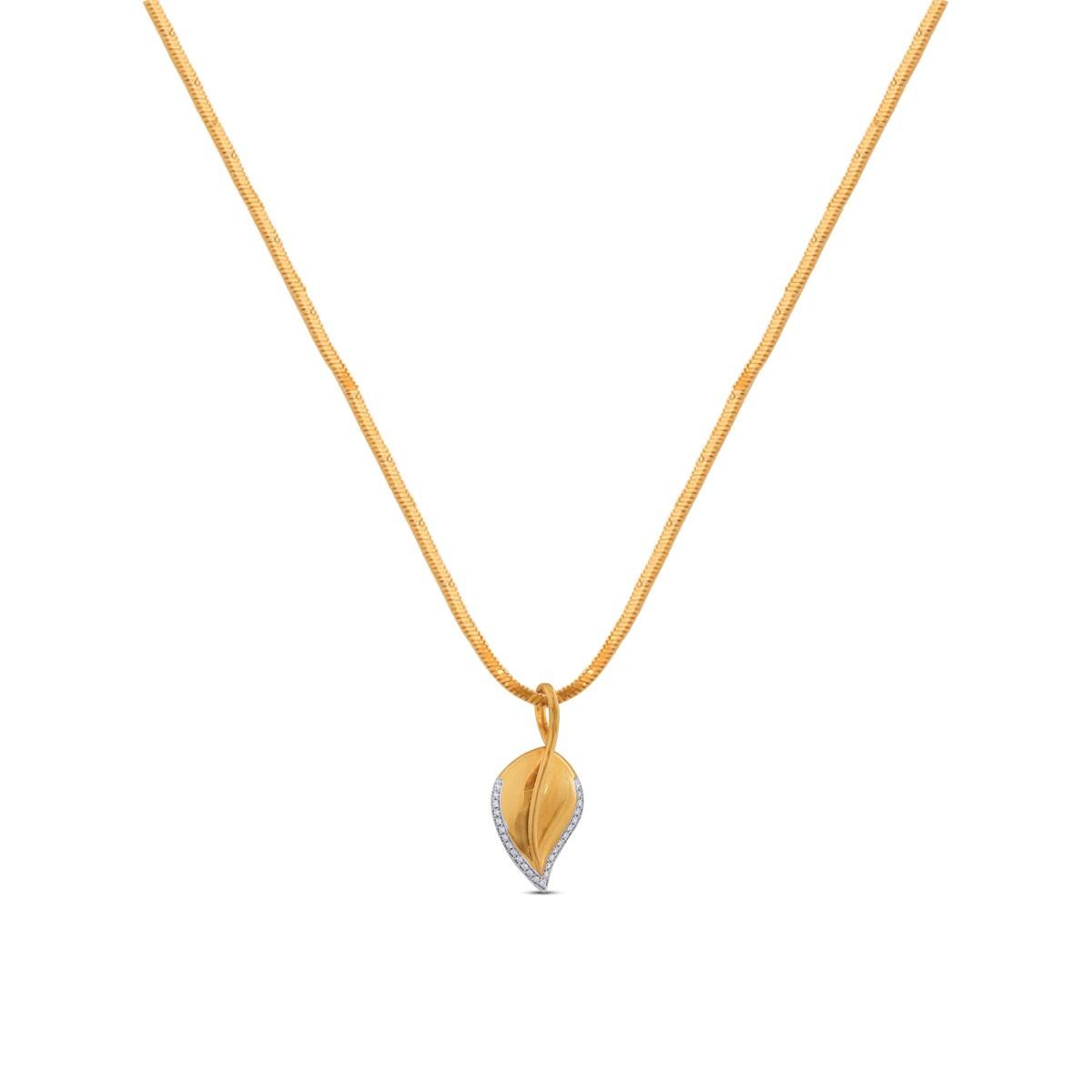Yashvi Yellow Gold Diamond Pendant with Chain