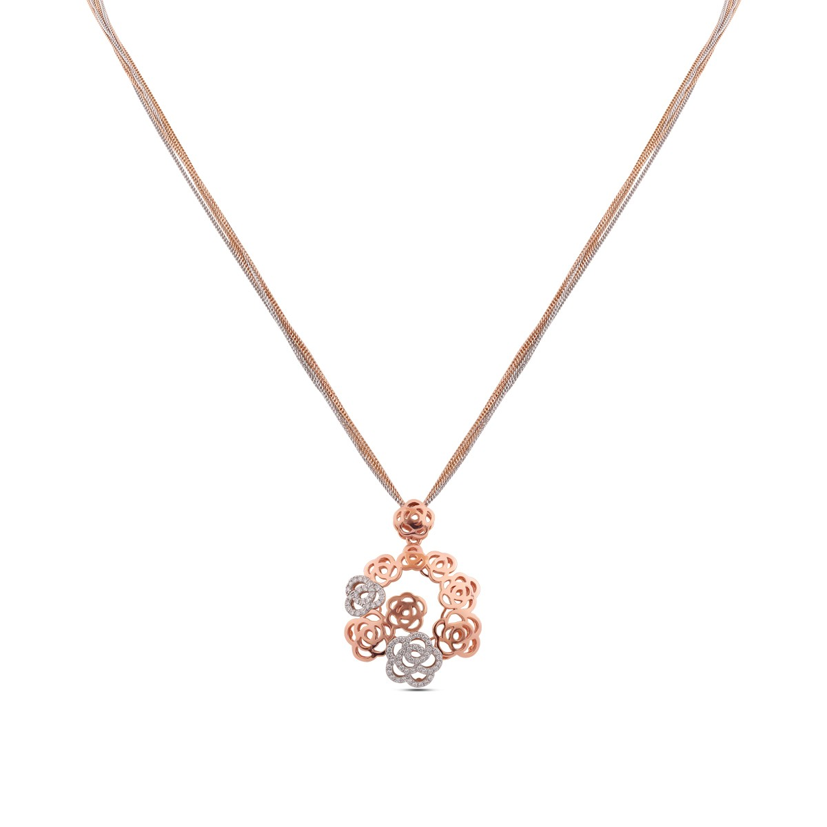 Emil Diamond & Rose Gold Pendant with Chain
