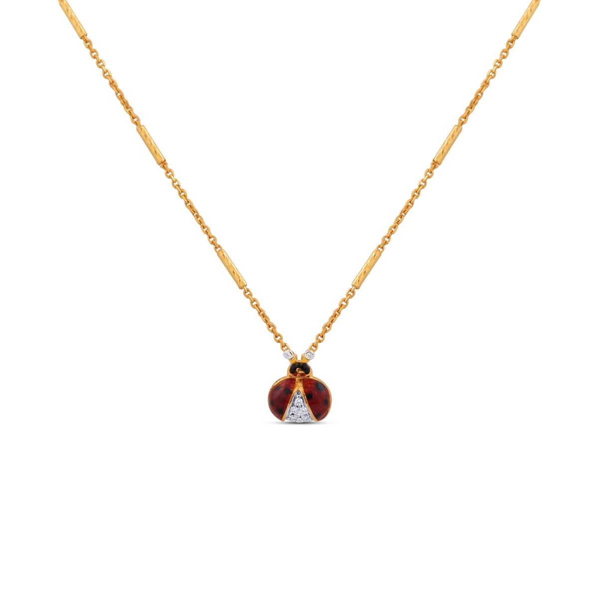 Ladybug Yellow Gold Diamond Pendant with Chain