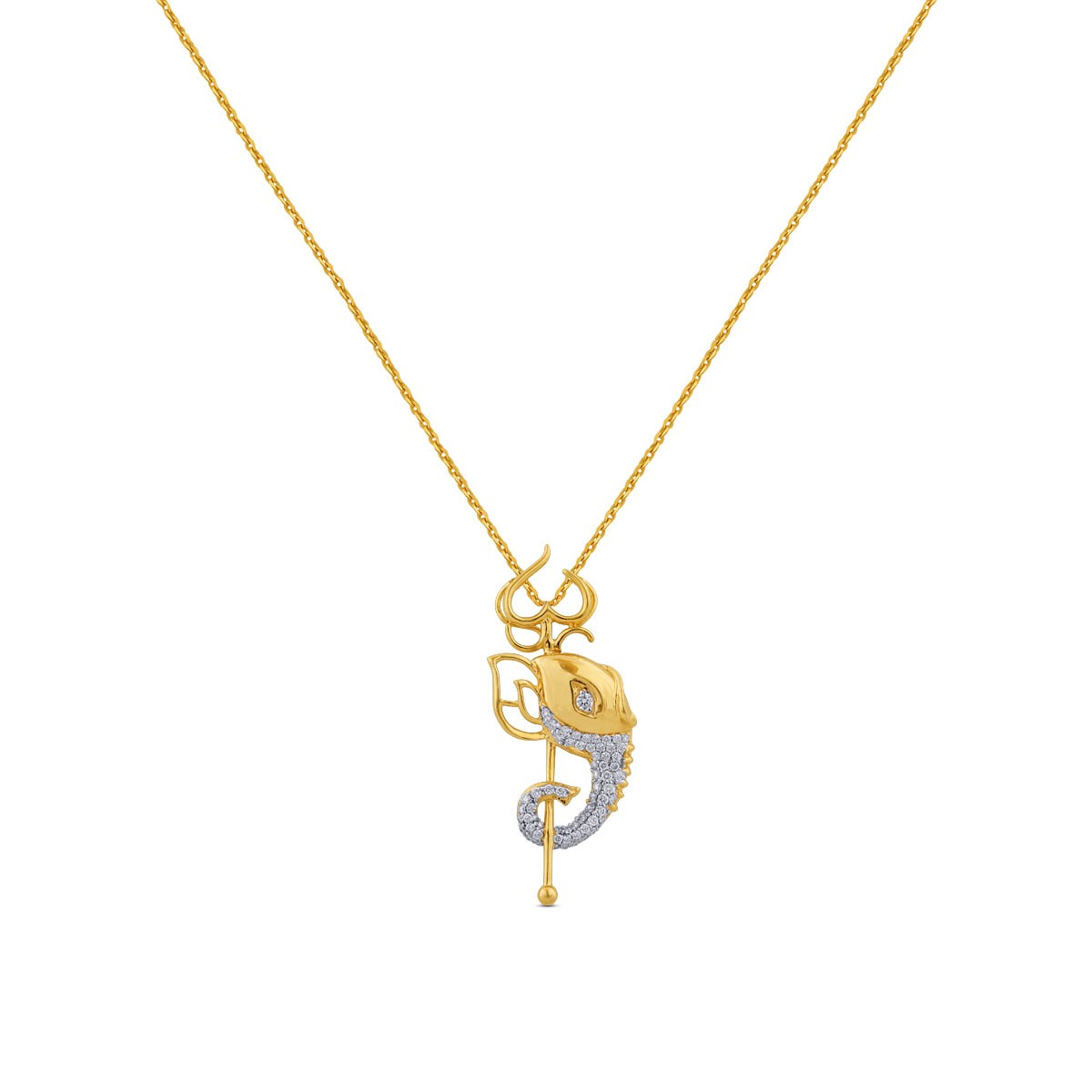 Pooja Yellow Gold Diamond Pendant with Chain