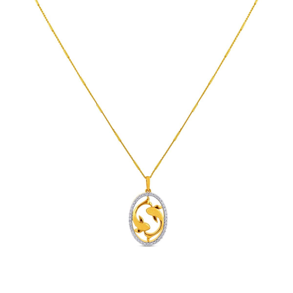 Pisces Zodiac Diamond Pendant with Chain