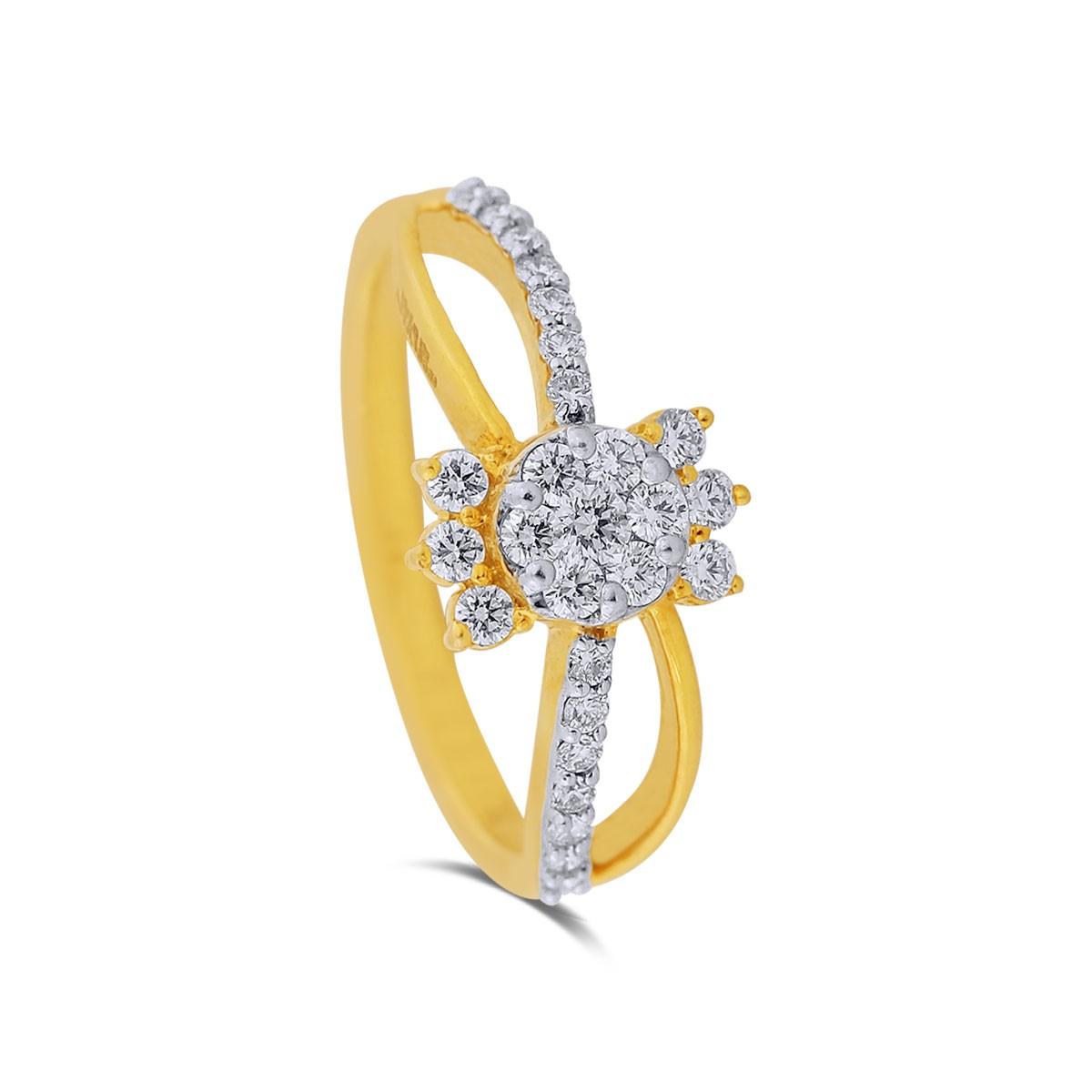 Brie Yellow Gold Diamond Ring