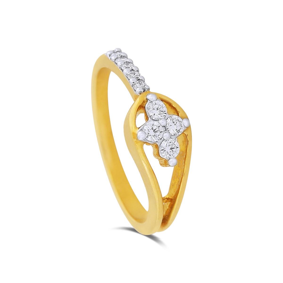 Nasreen Yellow Gold Diamond Ring
