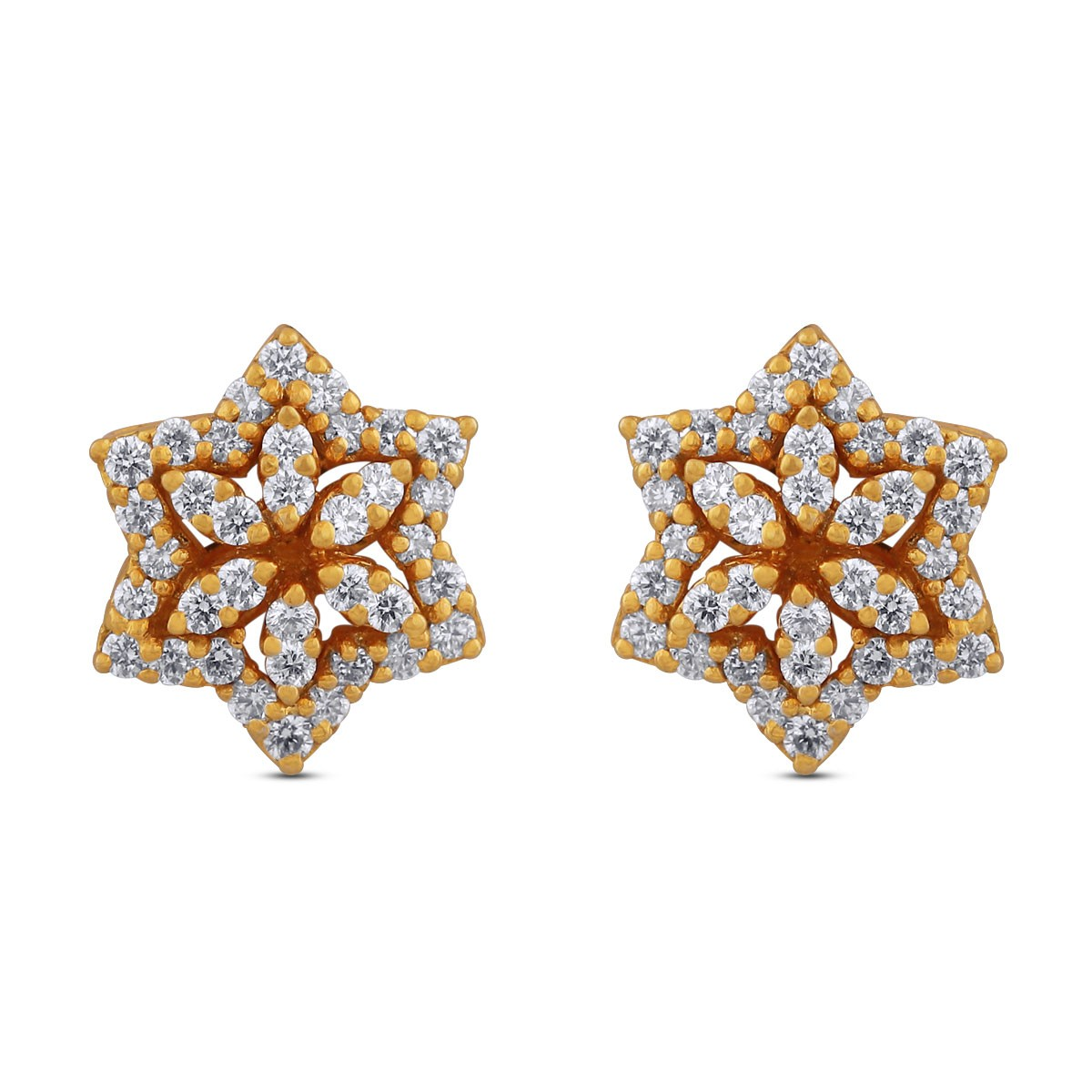 Nora Yellow Gold Diamond Stud Earrings