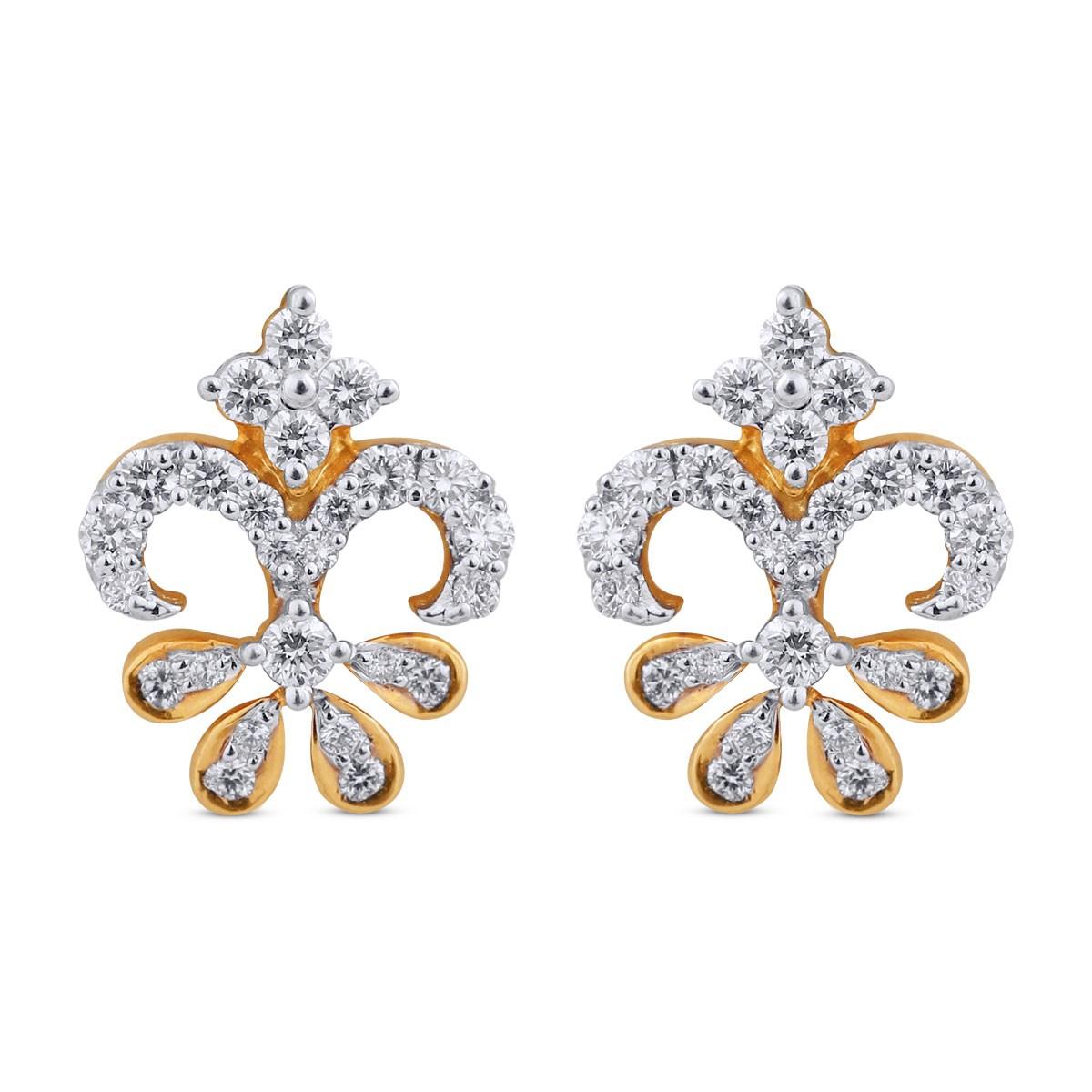 Zoey Yellow Gold Diamond Stud Earrings