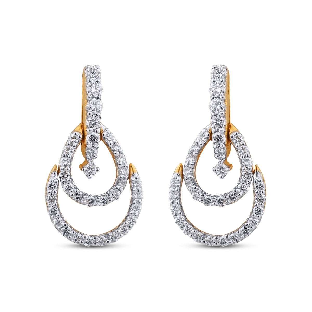 Leah Yellow Gold Diamond Drop Earrings