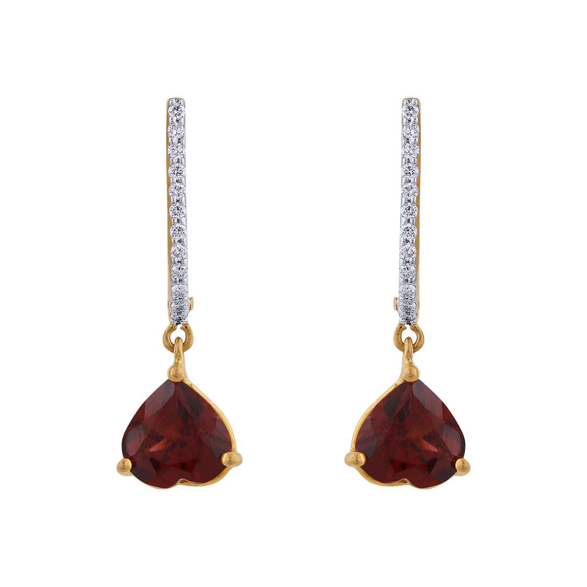 Alexa Diamond & Garnet Dangler Earrings