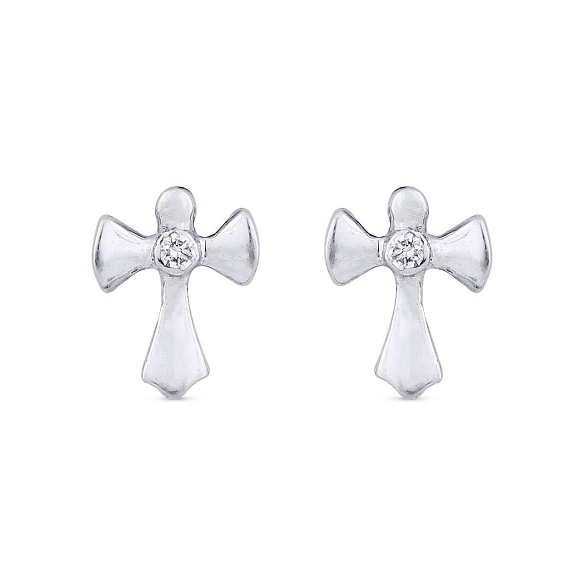 Milagros Cross White Gold Diamond Earrings