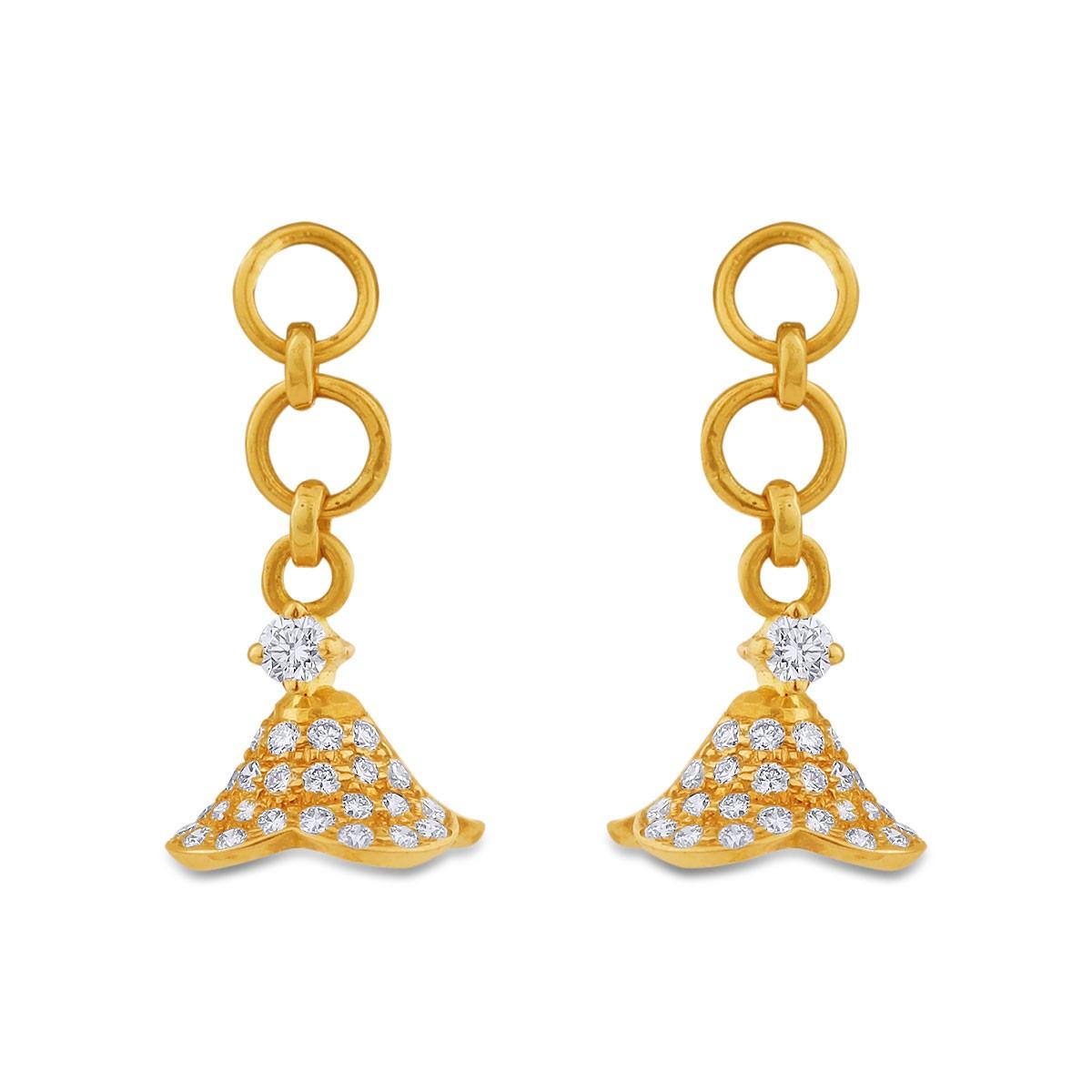 Sheila Girl's Yellow Gold Diamond Jhumkas