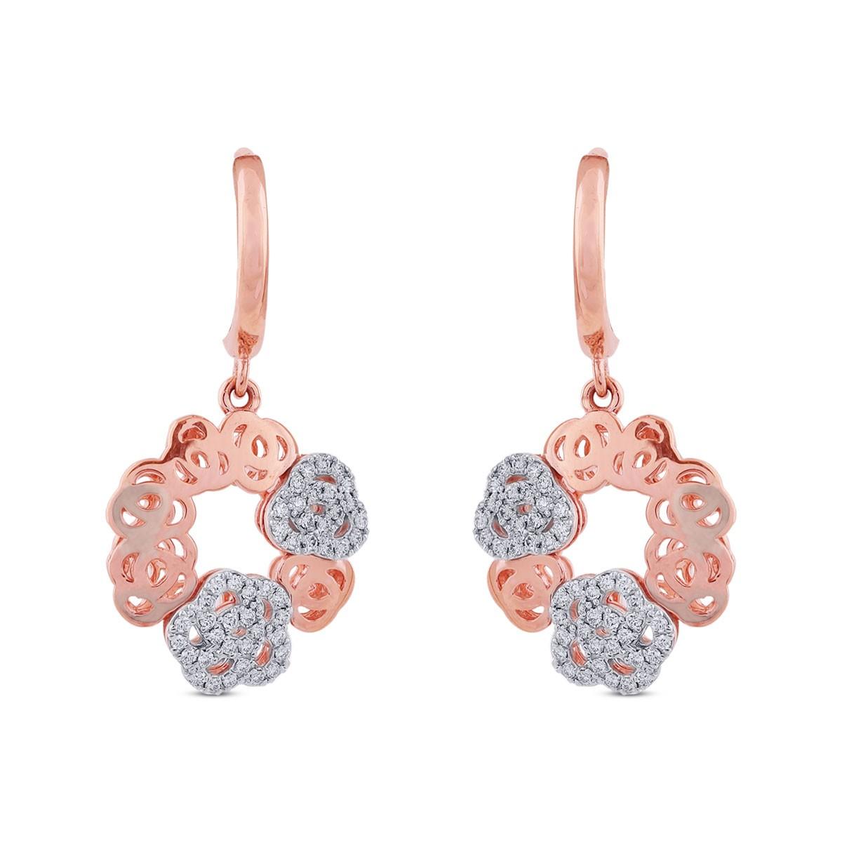 Nina Diamond & Rose Gold Dangler Earrings