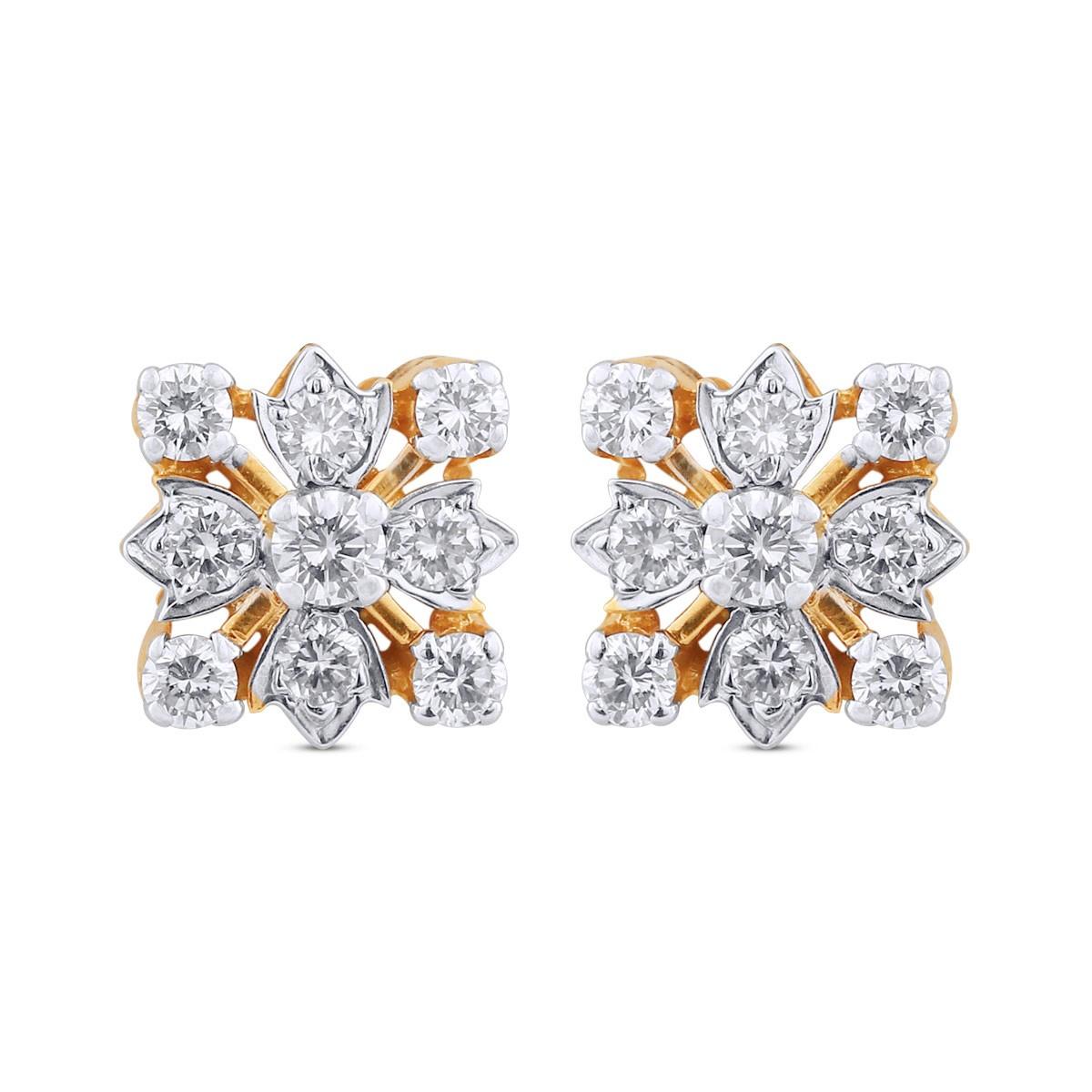 Allison Yellow Gold Diamond Stud Earrings