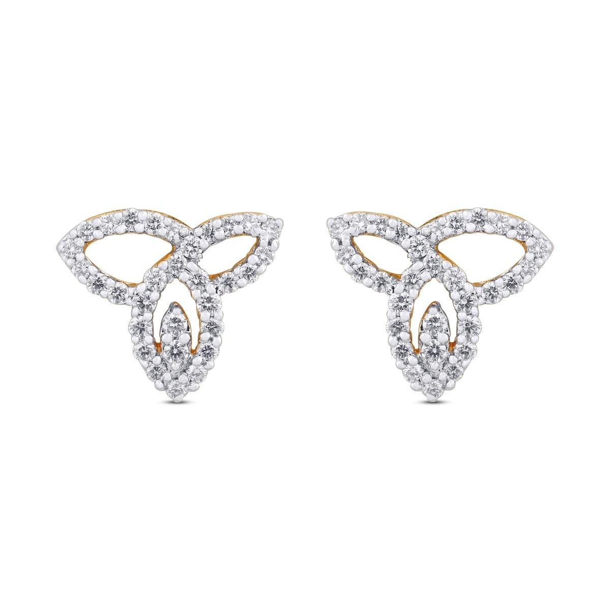 Eva Yellow Gold Diamond Stud Earrings