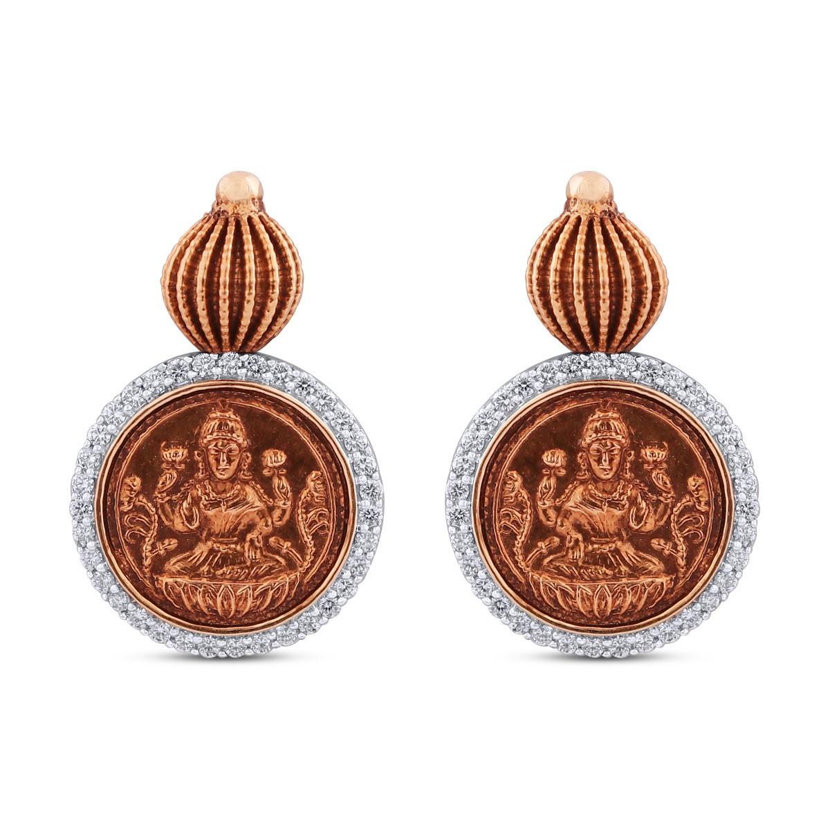 Lakshmi Yellow Gold Diamond Drop Earrings
