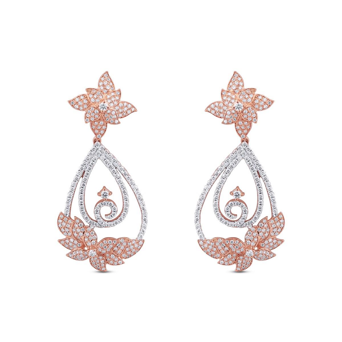 Josephine Rose Gold Diamond Drop Earrings