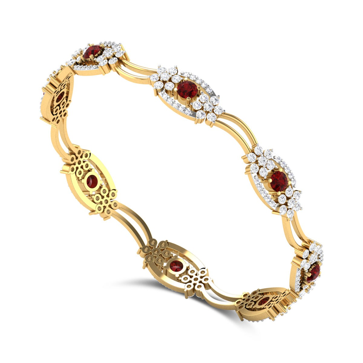 Agrata Ruby and Diamond Bangle