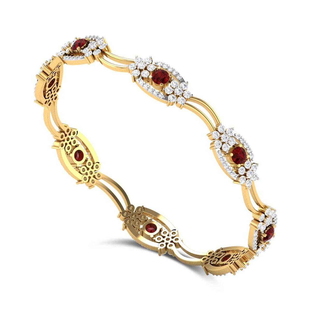 Agrata Ruby and Diamond Bangle