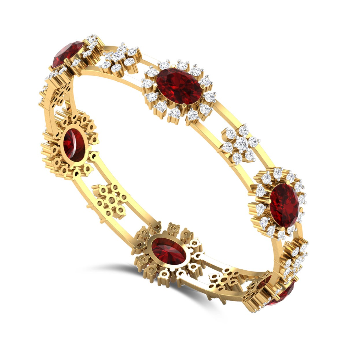 Akroor Ruby and Diamond Bangle