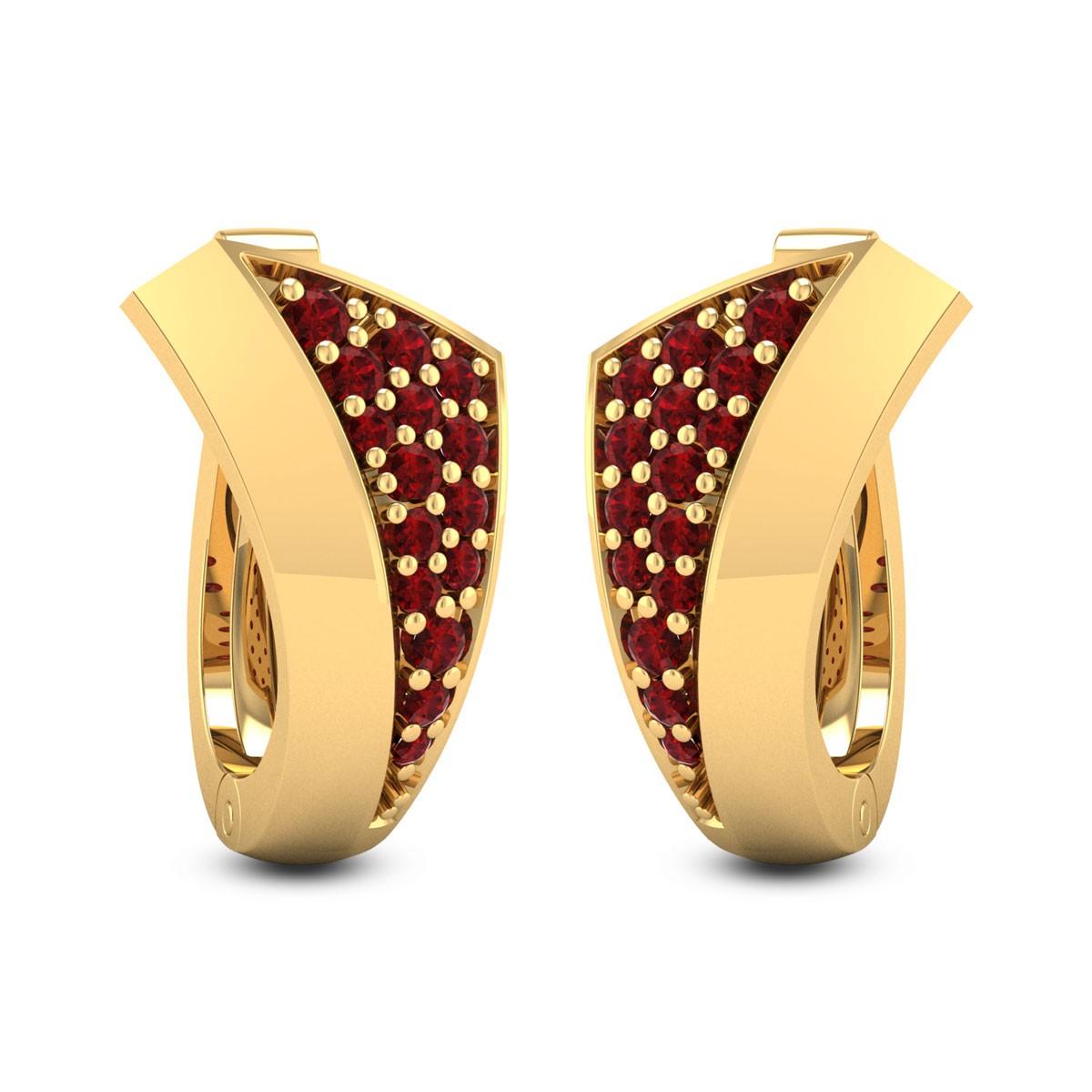 Ruby Trumpet Gemstone Earrings