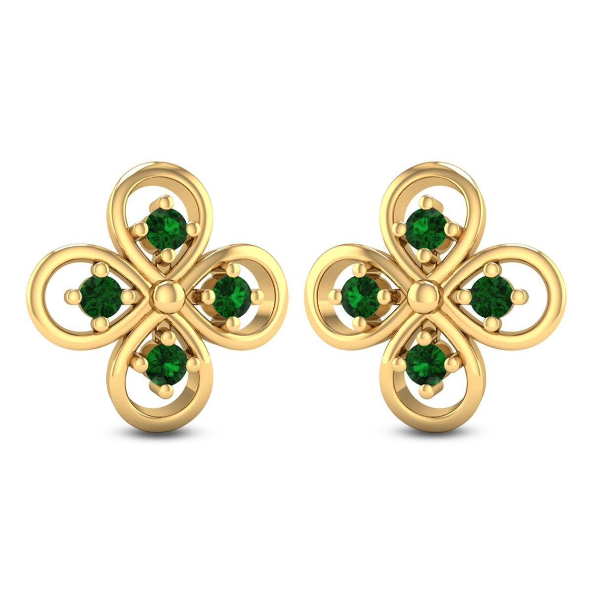 Simple Flower Emerald Stud Earrings