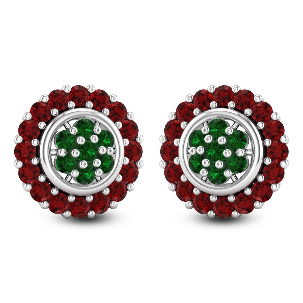 Ruby Cluster Stud Earrings