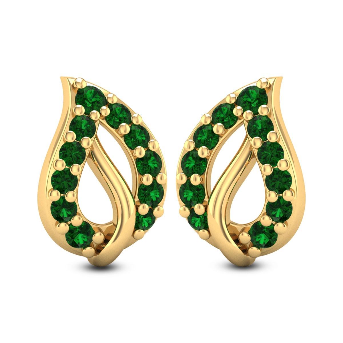 Leafy Emerald Stud Earrings