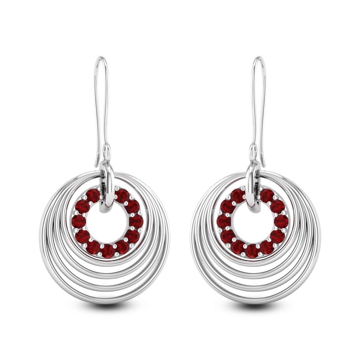 Circula Ruby Hanging Earrings
