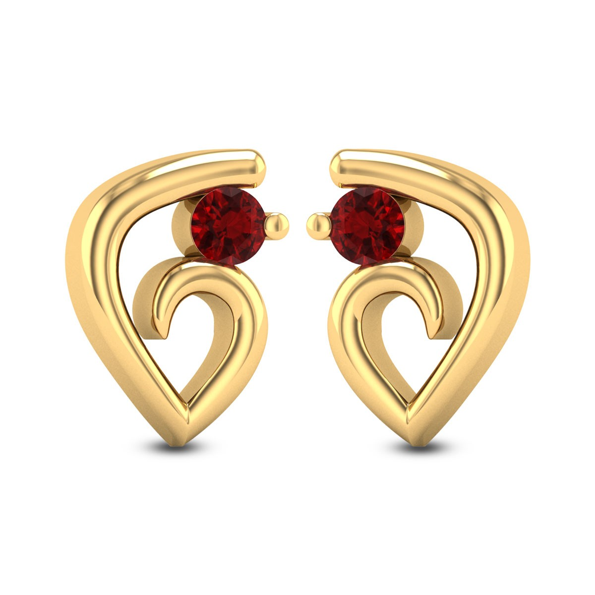 Penguin Ruby Stud Earrings