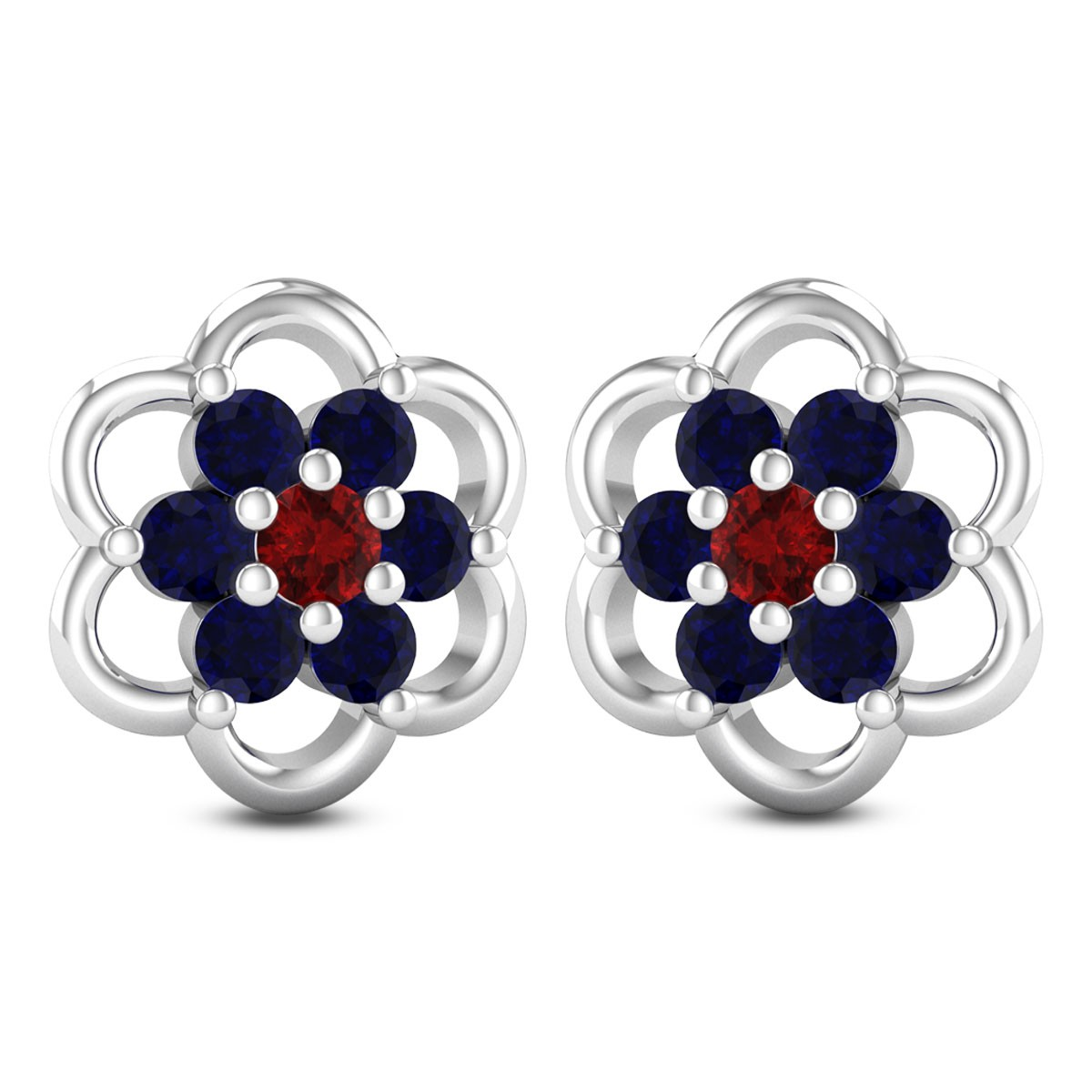 Blooming Sapphire Stud Earrings