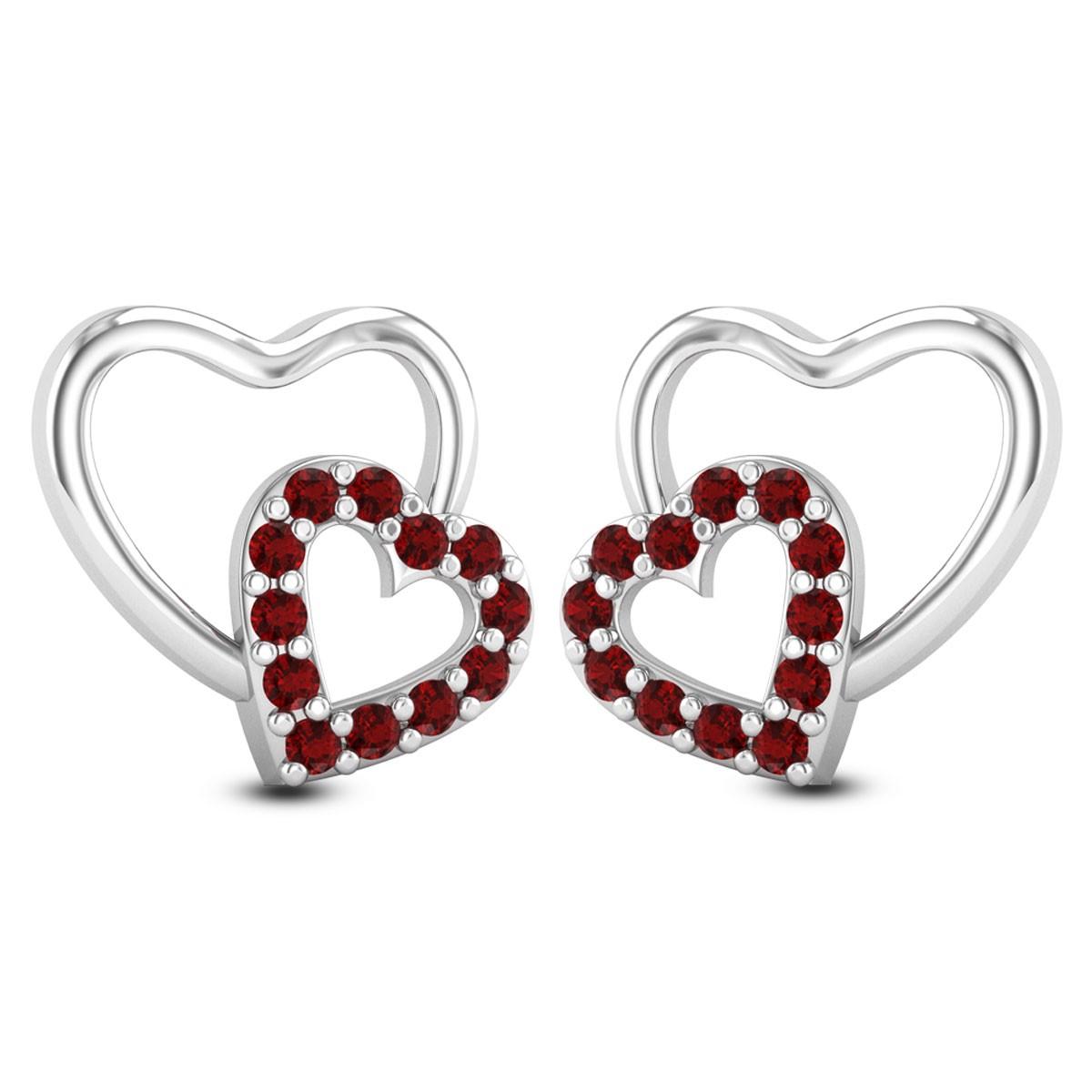 Ruby Twin Heart Stud Earrings