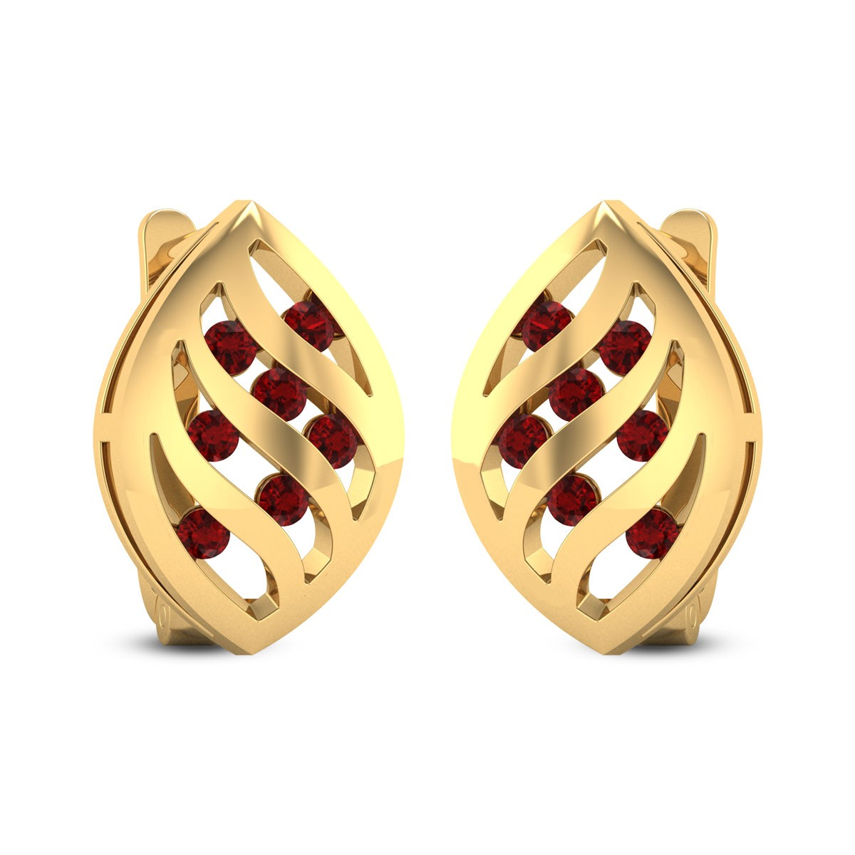 Lattice Ruby Stud Earrings