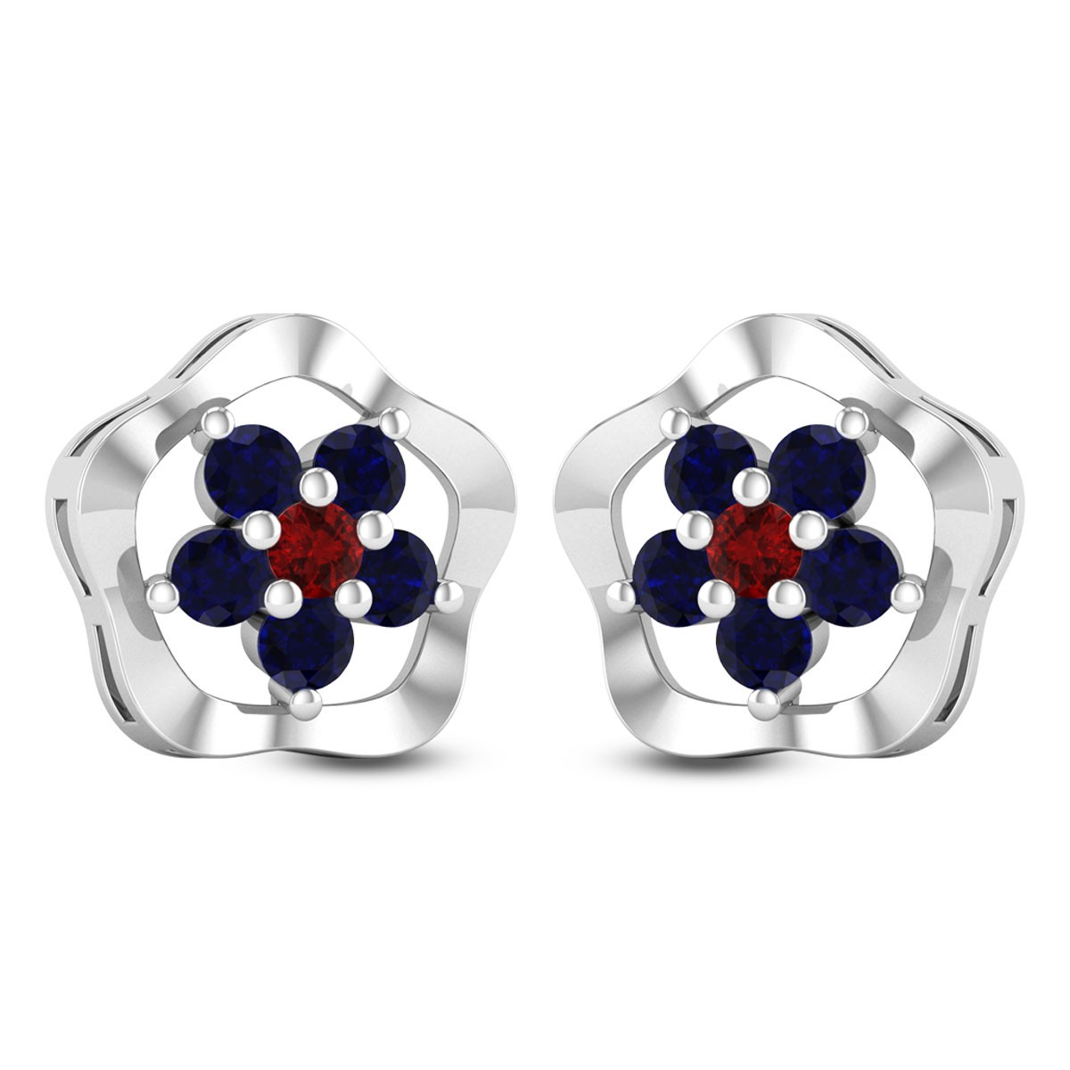 Sapphire Floral Passion Stud Earrings