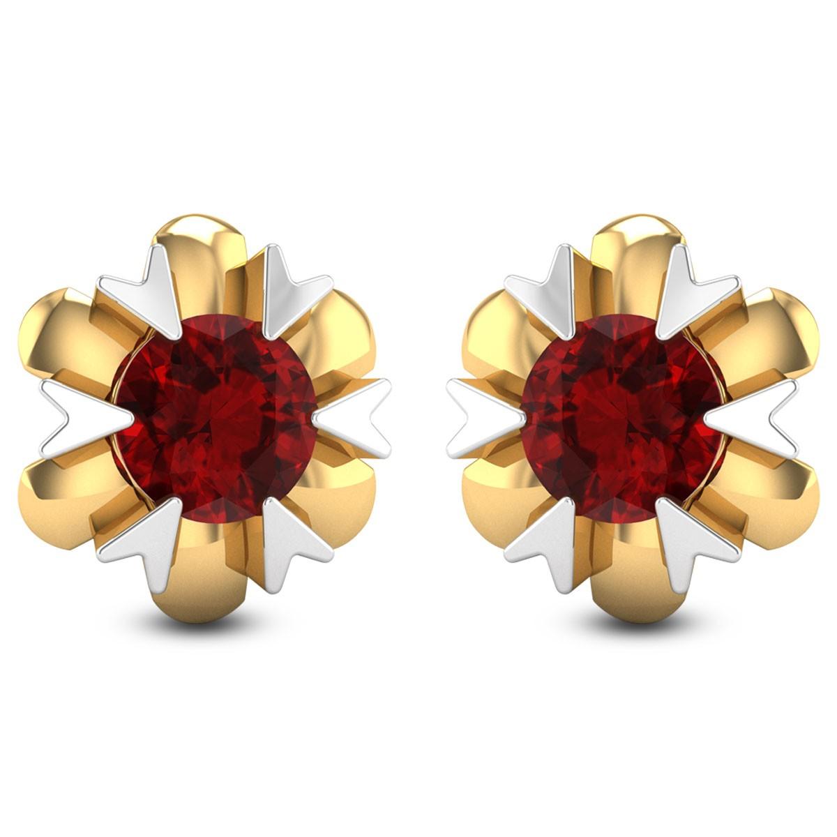 Aster Ruby Stud Earrings