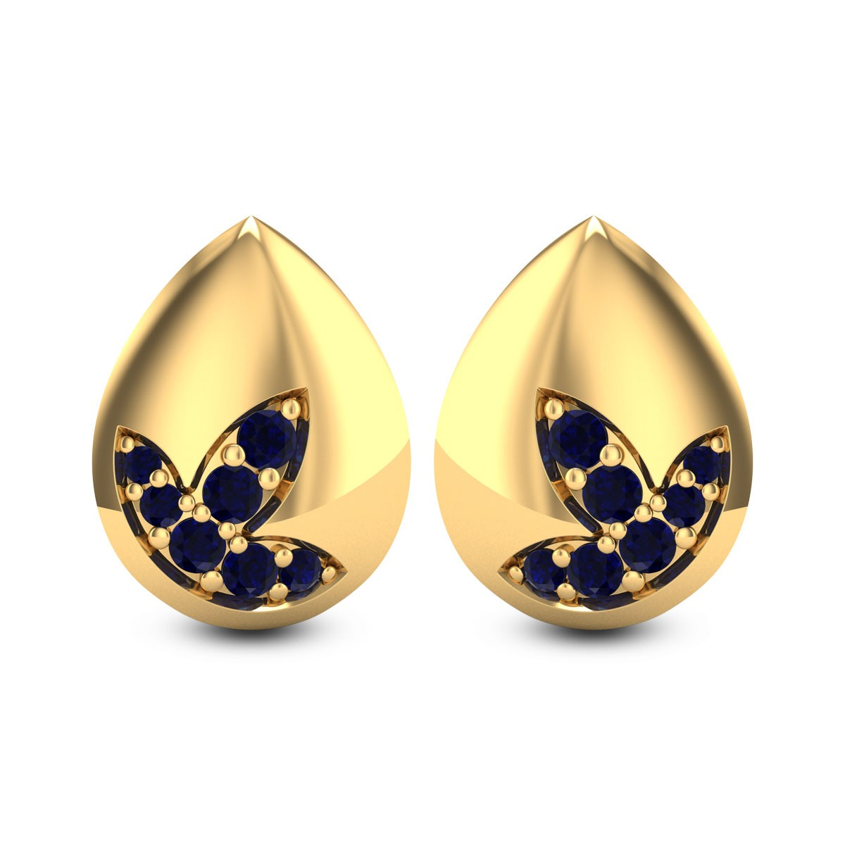 Sapphire Droplet Stud Earrings