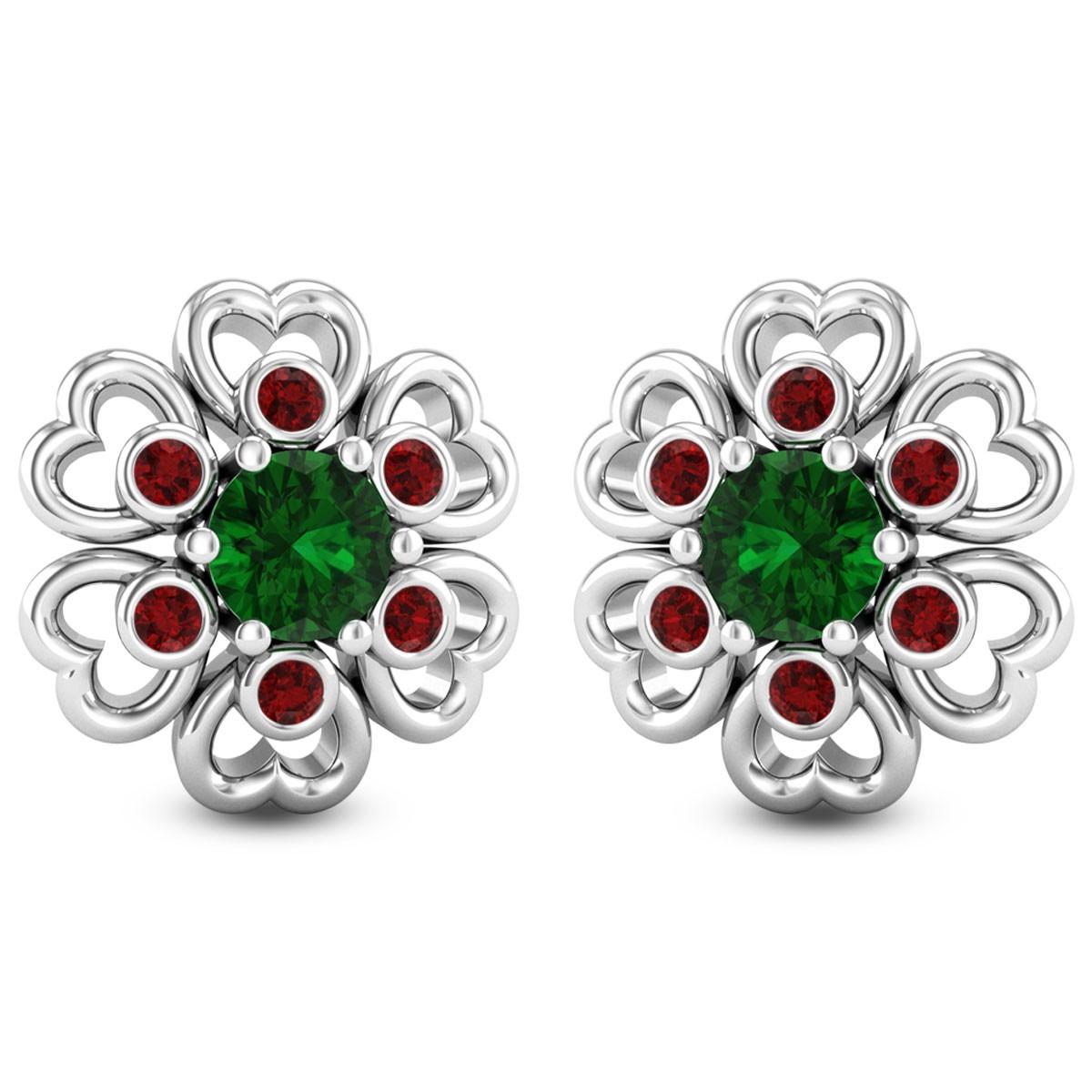 Trio Gem Floral Stud Earrings
