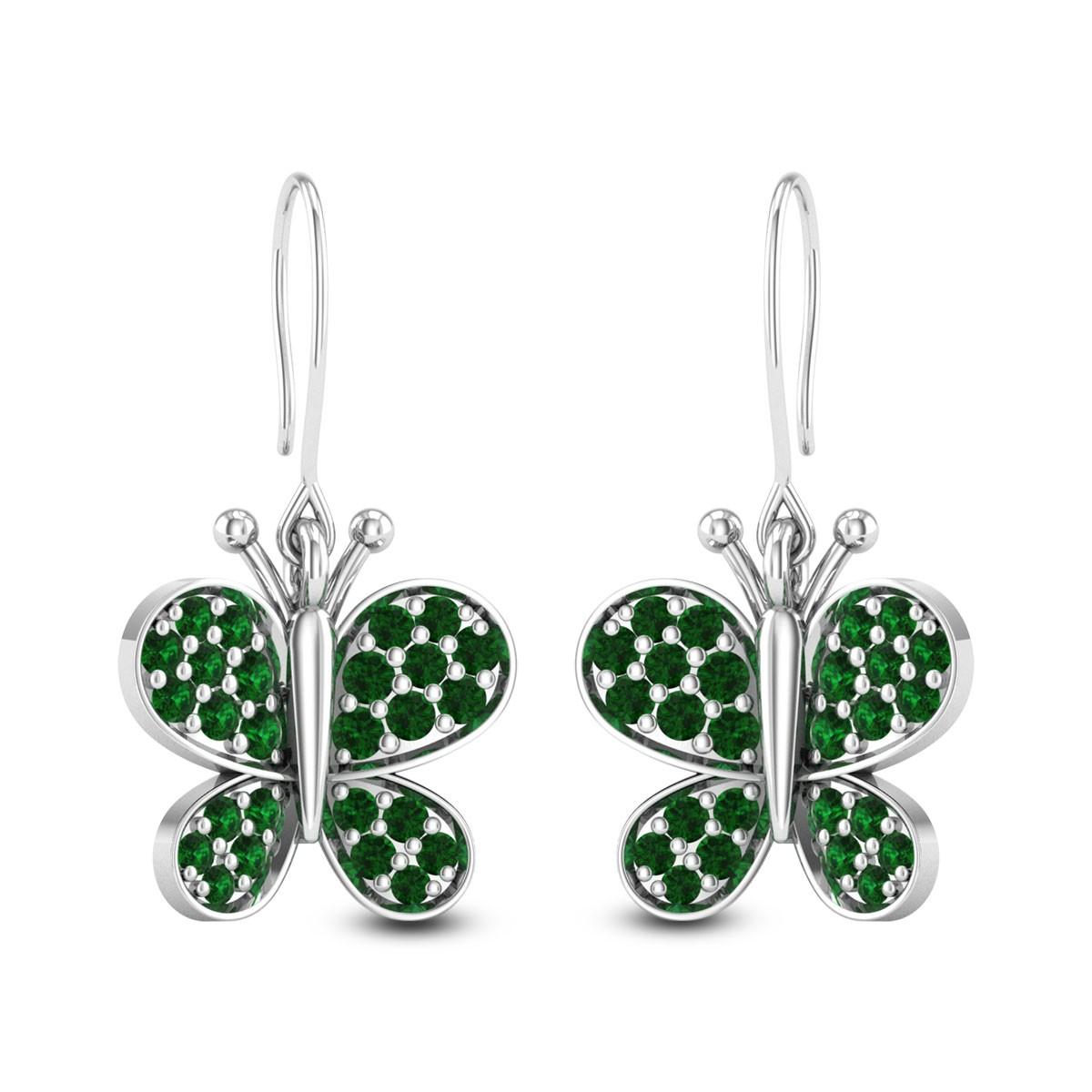 Emerald Butterfly Hanging Earrings