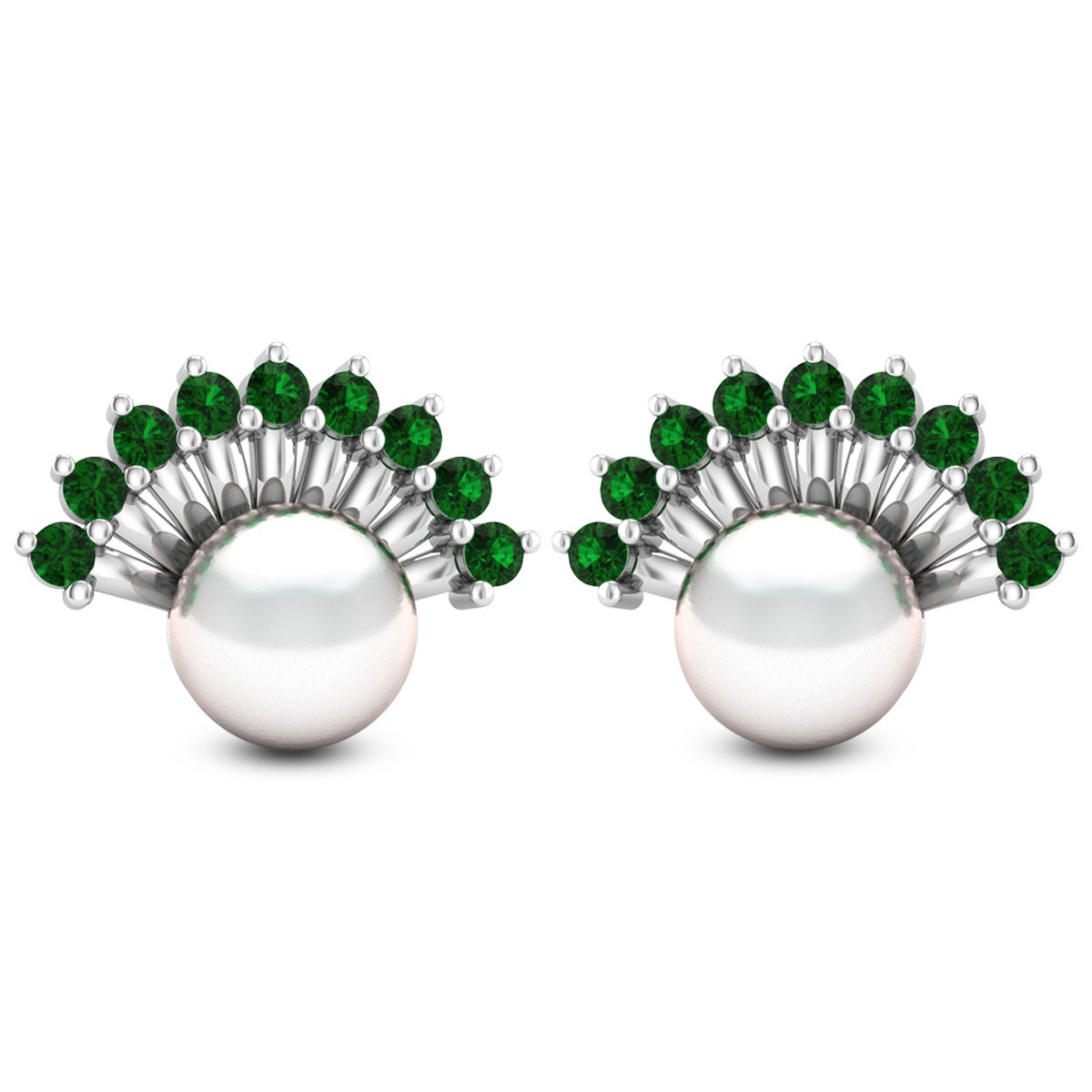 Emerald Frill Pearl Stud Earrings