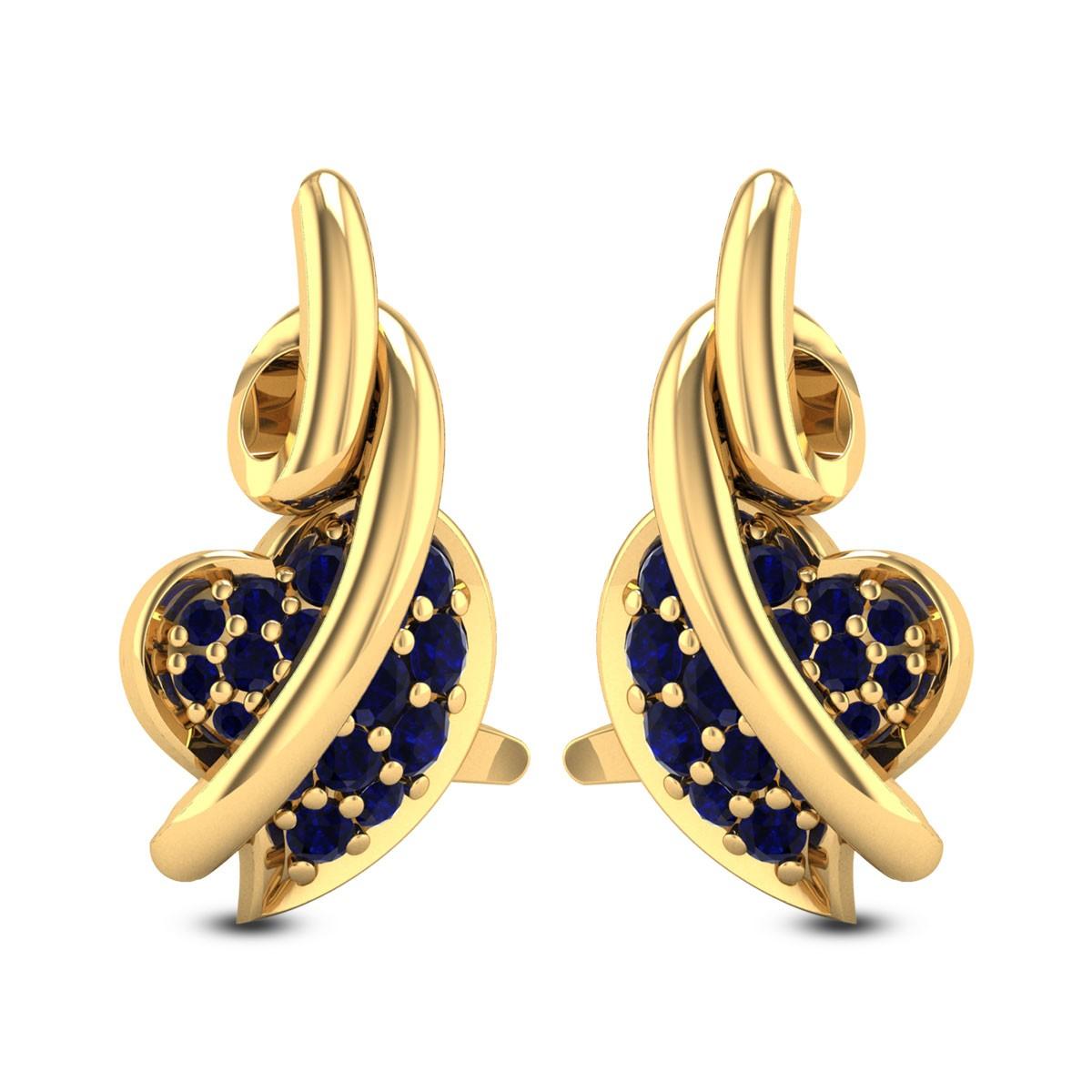 Entwined Sapphire Heart Stud Earrings