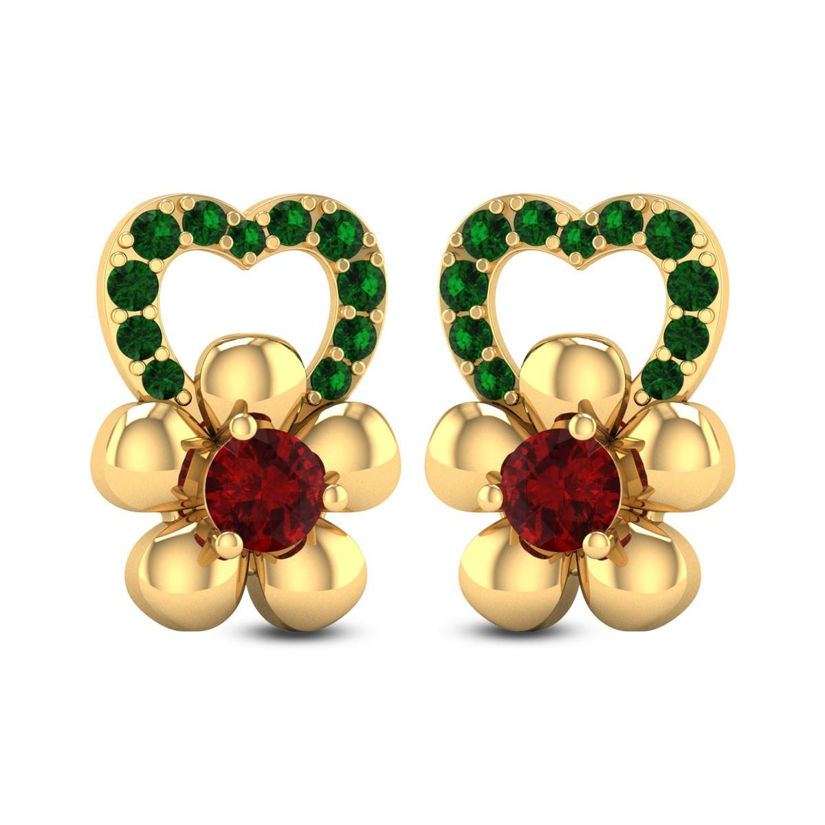 Floral Heart Stud Earrings
