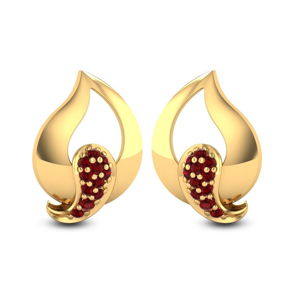 Dianthus Ruby Stud Earrings