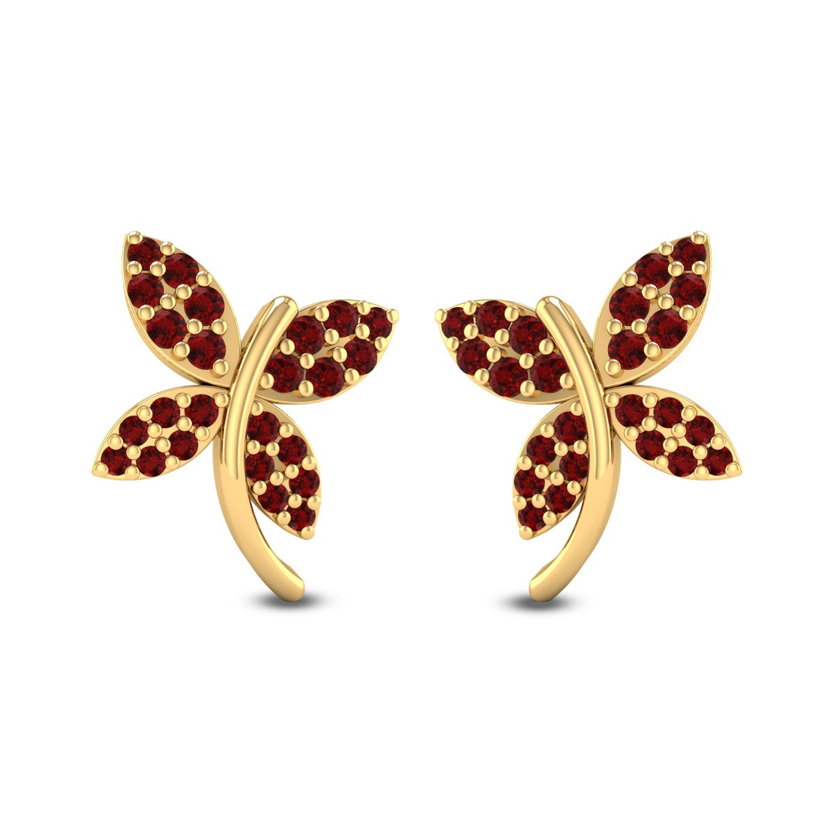 Ruby Butterfly Stud Earrings