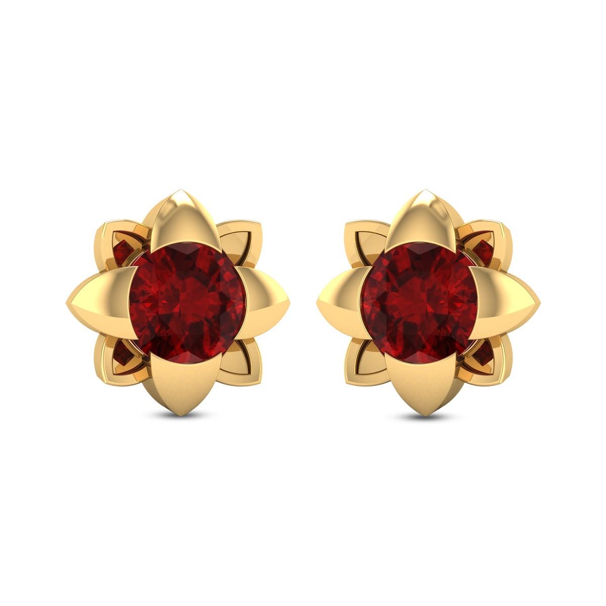 Germaine Floral Ruby Stud Earrings